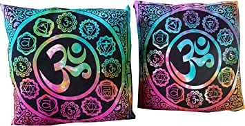 Indian Craft Castle ICC 7 Chakra Poster Buddha Yoga Cushion Cover Chakras Meditating Yoga Artwork Decoration for Bedroom Chakra Decor 18x18 in in ...