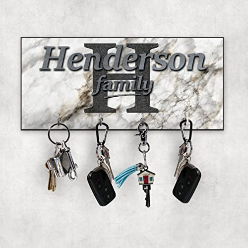Charming Personalized Family Key Hanger   Marble Design Wall Key Holder   New Home  Gift   Wedding