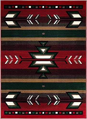 Champion Rugs Southwest Southwestern Native American Indian Modern Area Rug Carpet Red 2 X 3