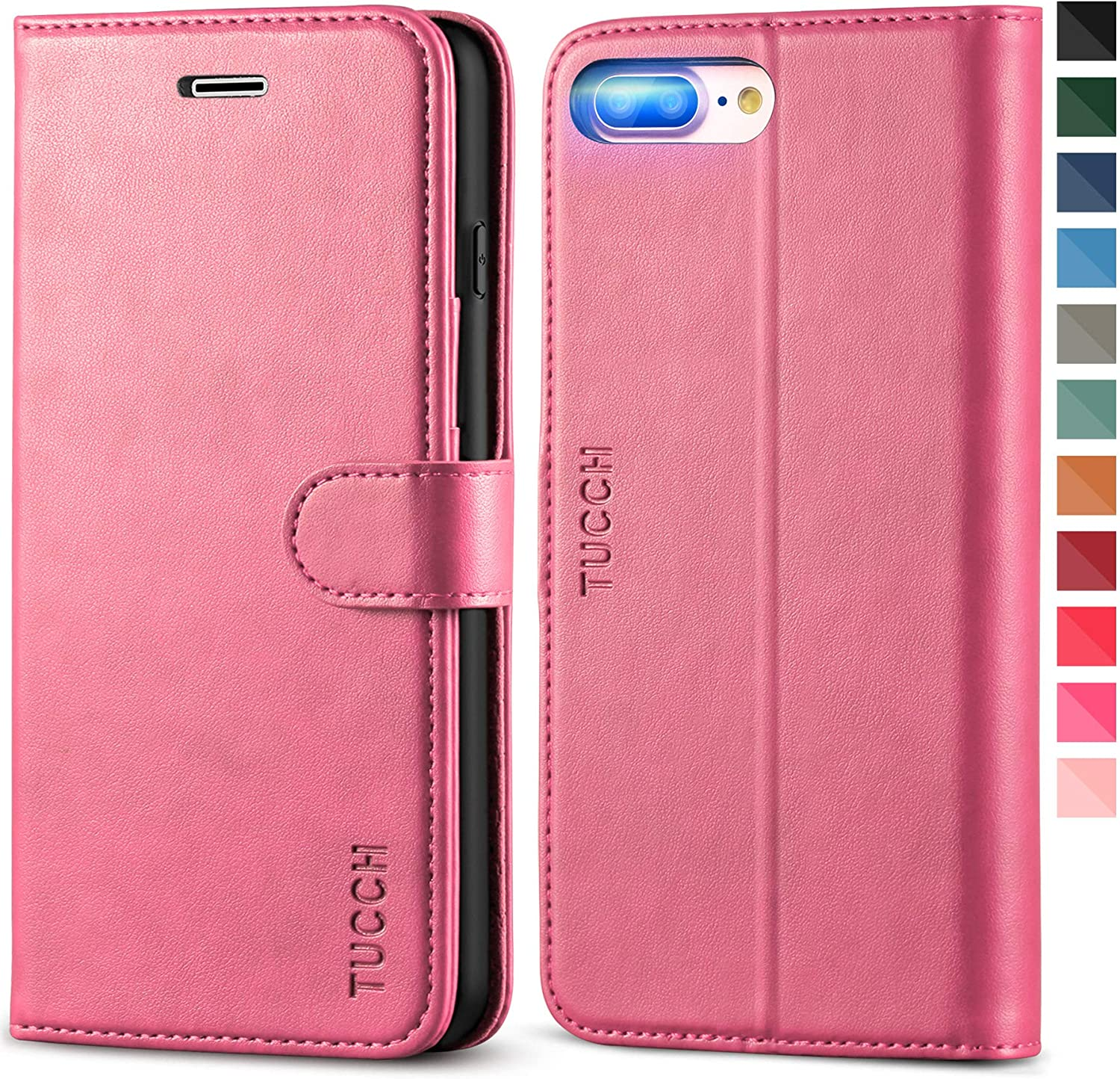 TUCCH iPhone 8 Plus Case, iPhone 7 Plus Wallet Case, Magnetic Closure Card Slot Money Pouch, Stand PU Leather Purse Flip Book Cover [TPU Interior Case] Compatible with iPhone 8 Plus/7 Plus, Hot Pink