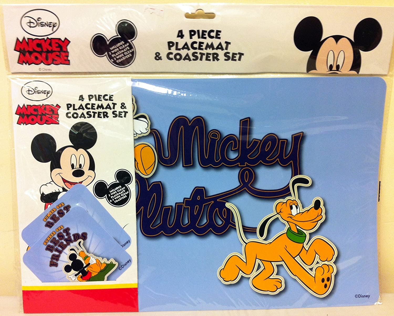 NEW Cartoon Disney Mickey and Minnie Mouse Set of 2 Coasters Placemat UK SELLER