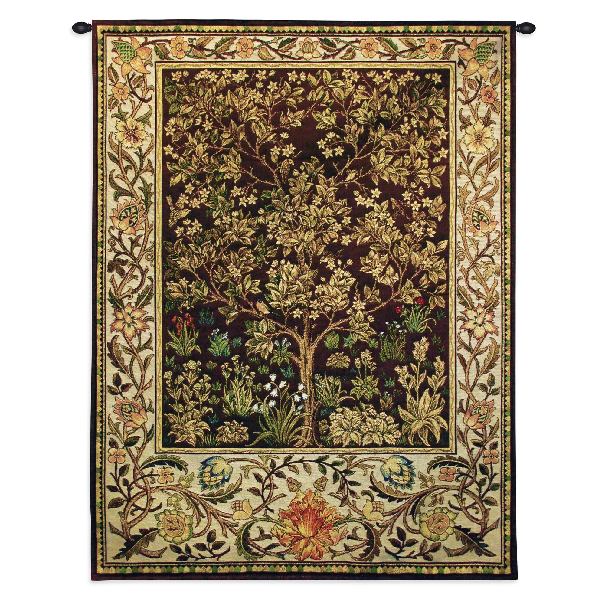 Fine Art Tapestries ''Tree of Life Umber'' Wall Tapestry, Small by Fine Art Tapestries