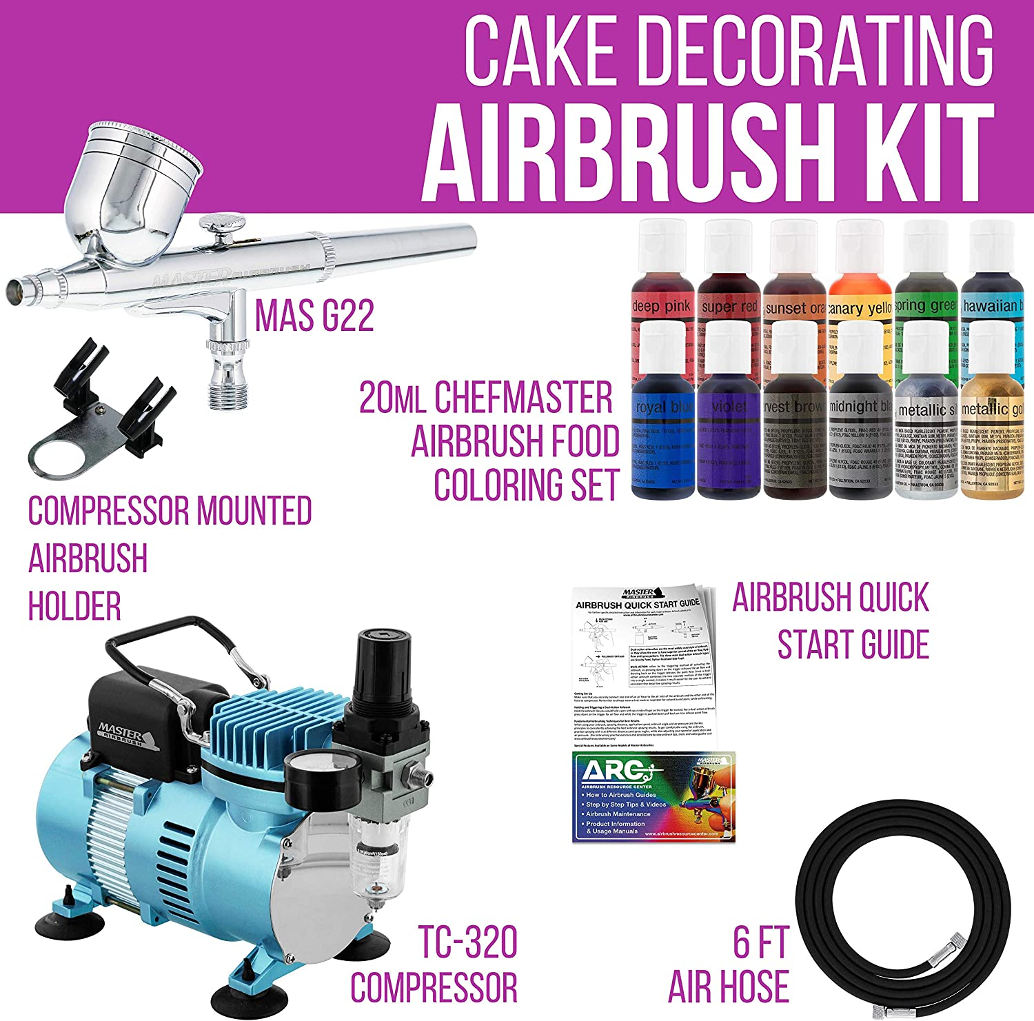 Master Airbrush Cake Decorating Airbrushing System Kit with a Gravity Feed  Airbrush, Set of 12 Chefmaster Food Colors, Pro Cool Runner II Dual Fan Air  ...