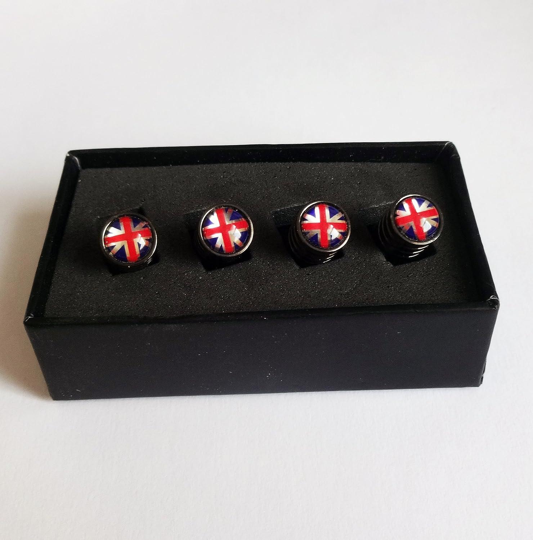Union Jack Flagge Deluxe schwarz chrom Ventilkappen mit GESCHENKBOX.