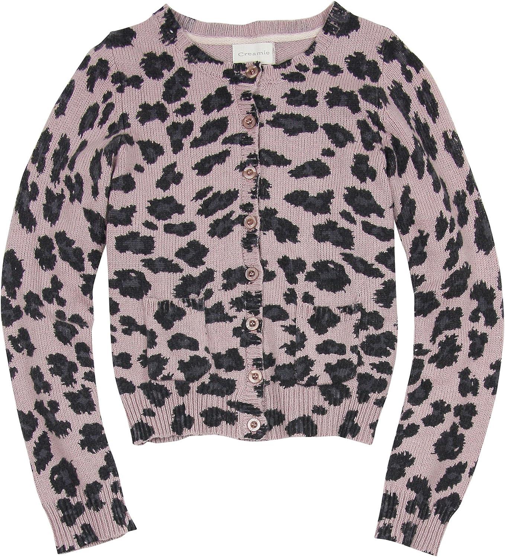 Amazon Com Creamie Girls Cheetah Print Knit Cardigan Sizes 6 14 14 164 Clothing