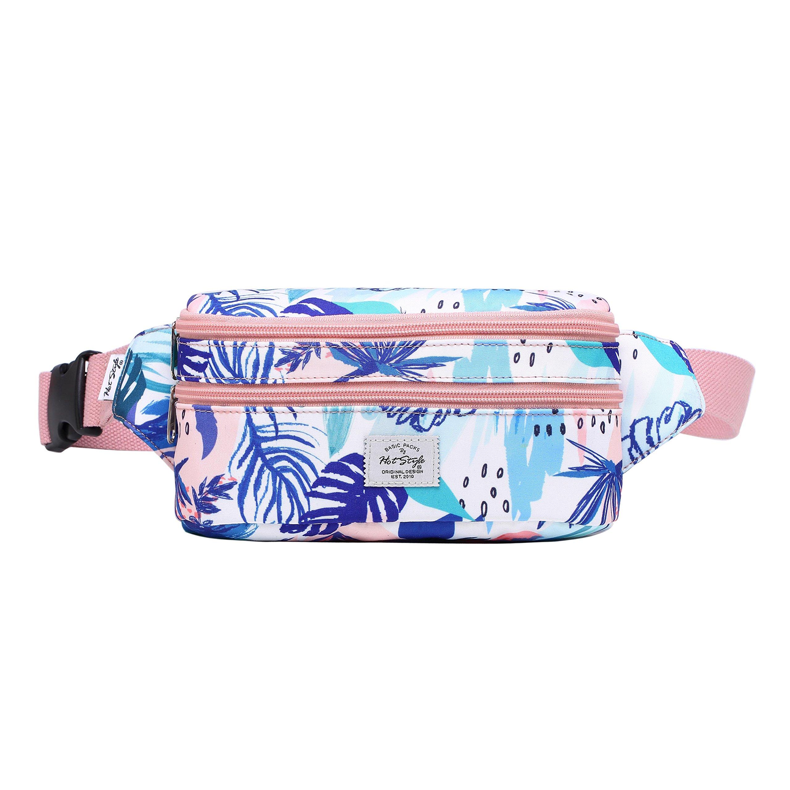 521s Fashion Waist Bag Cute Fanny Pack   8.0''x2.5''x4.3''   Pink Tropical