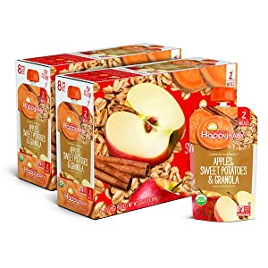 Happy Baby Clearly Crafted Stage 2 Meals Organic Baby Food, Apples, Sweet Potatoes & Granola, 4 Ounce (Pack of 16)