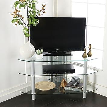 Walker Edison 44u0026quot; Glass Corner TV Stand, ...