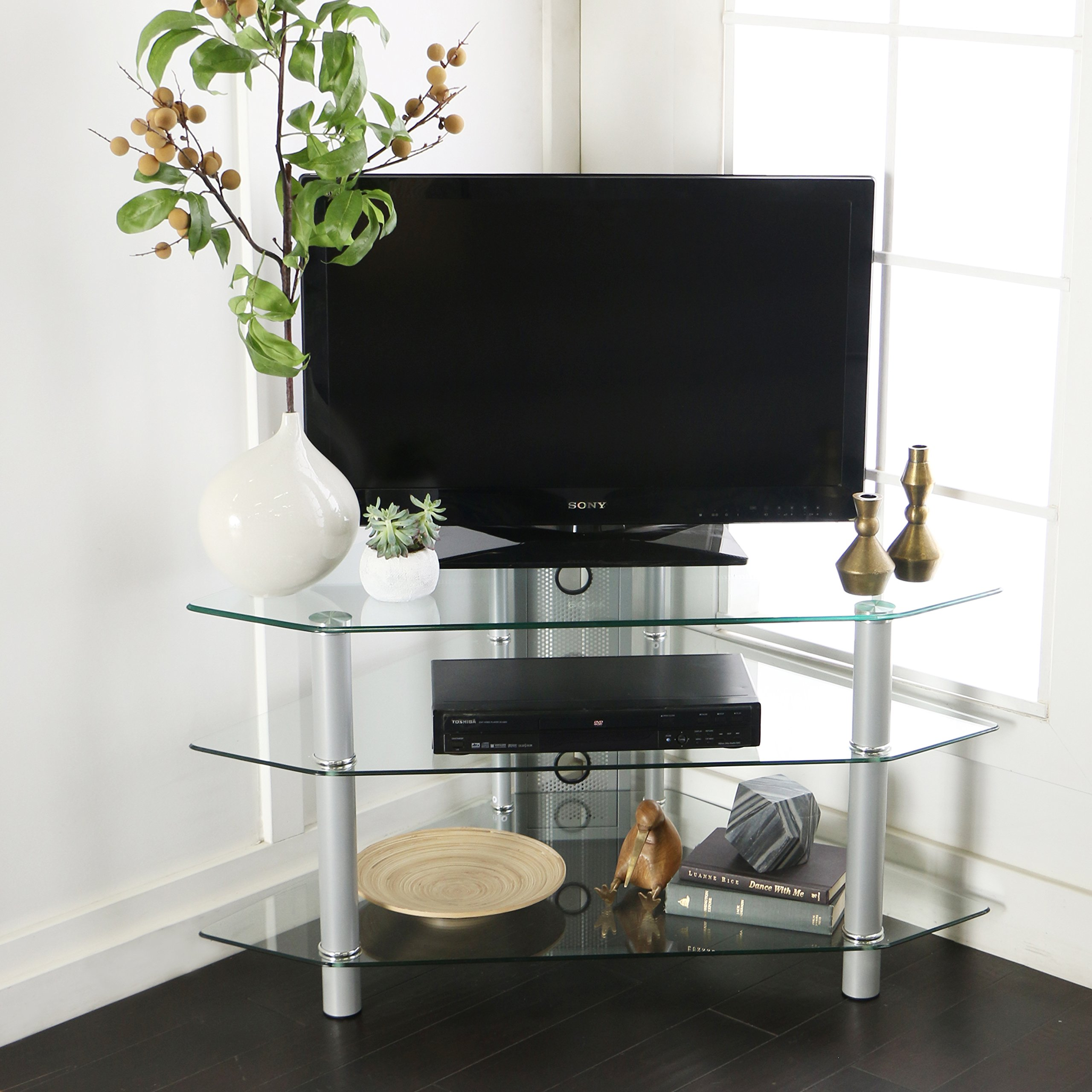 Walker Edison 44'' Glass Corner TV Stand, Silver by Walker Edison Furniture Company