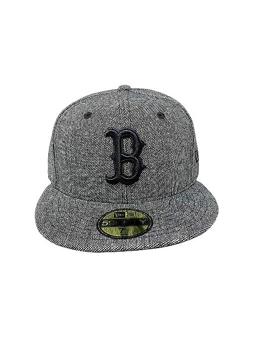 358b08a4c Amazon.com : New Era Boston Red Sox 59Fifty MLB Hat Flat Brim Cap ...