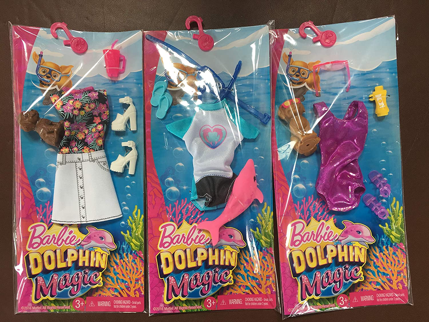 Barbie Set of 3 Magic Dolphin Fashion Packs with Accessories Mattel
