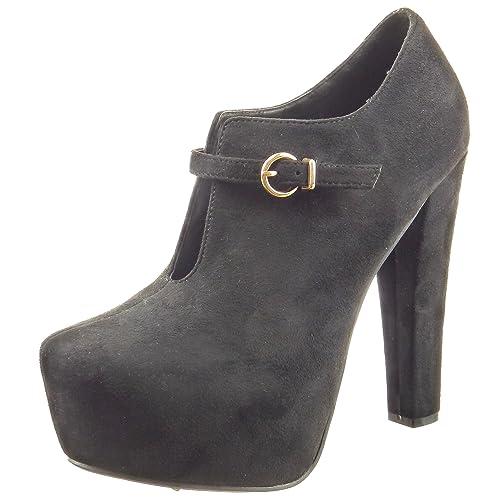 Sopily - Zapatillas de Moda Botines zapatillas de plataforma abierto Tobillo mujer Hebilla Talón Tacón ancho alto 13 CM - Negro CAT-3-PN1520 T 41: ...