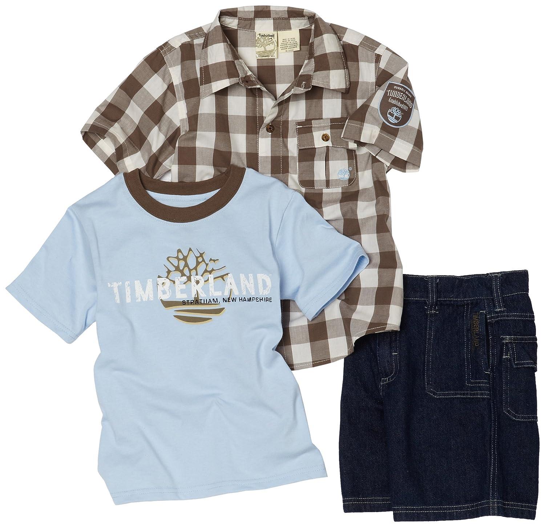 Timberland Little Boys 3 Piece Denim Short Set