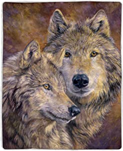 Lavish Home 64-WOLFPAIR Sherpa Fleece Blanket, Wolf Print