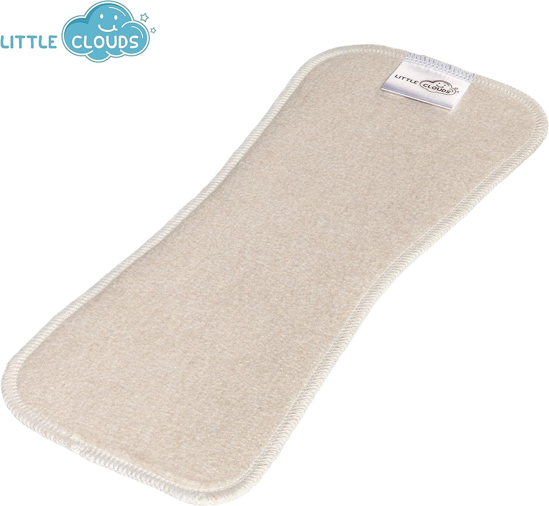 Little Clouds – absorbente de bambú y cáñamo y algodón orgánico – absorbente para pañales, tamaño de la compresa: 27 x 10 cm – La mejor absorbencia del mundo. Adecuado para todos
