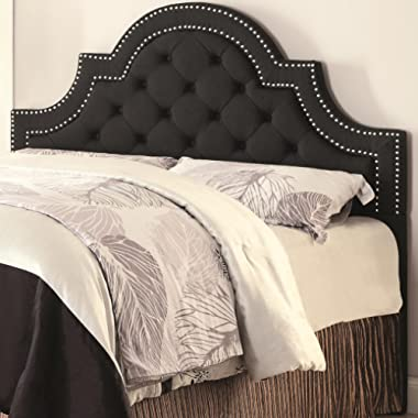 Queen/Full Ojai Upholstered Headboard with Button Tufting Charcoal