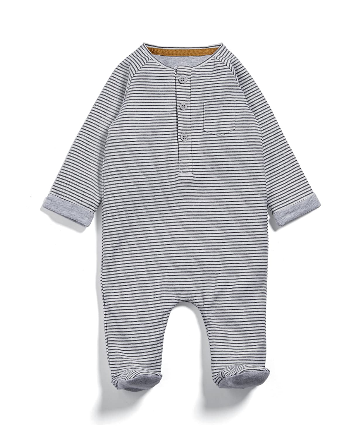 Mamas & Papas Baby Boys' Henley Stripe All in One Sleepsuits Mamas and Papas
