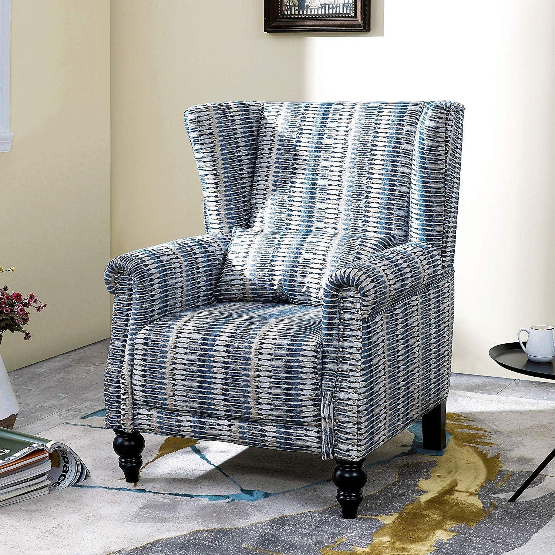 LOKATSE HOME Fabric Arm Chair Modern Single Sofa for Living Room, White/Blue/Beige Pattern