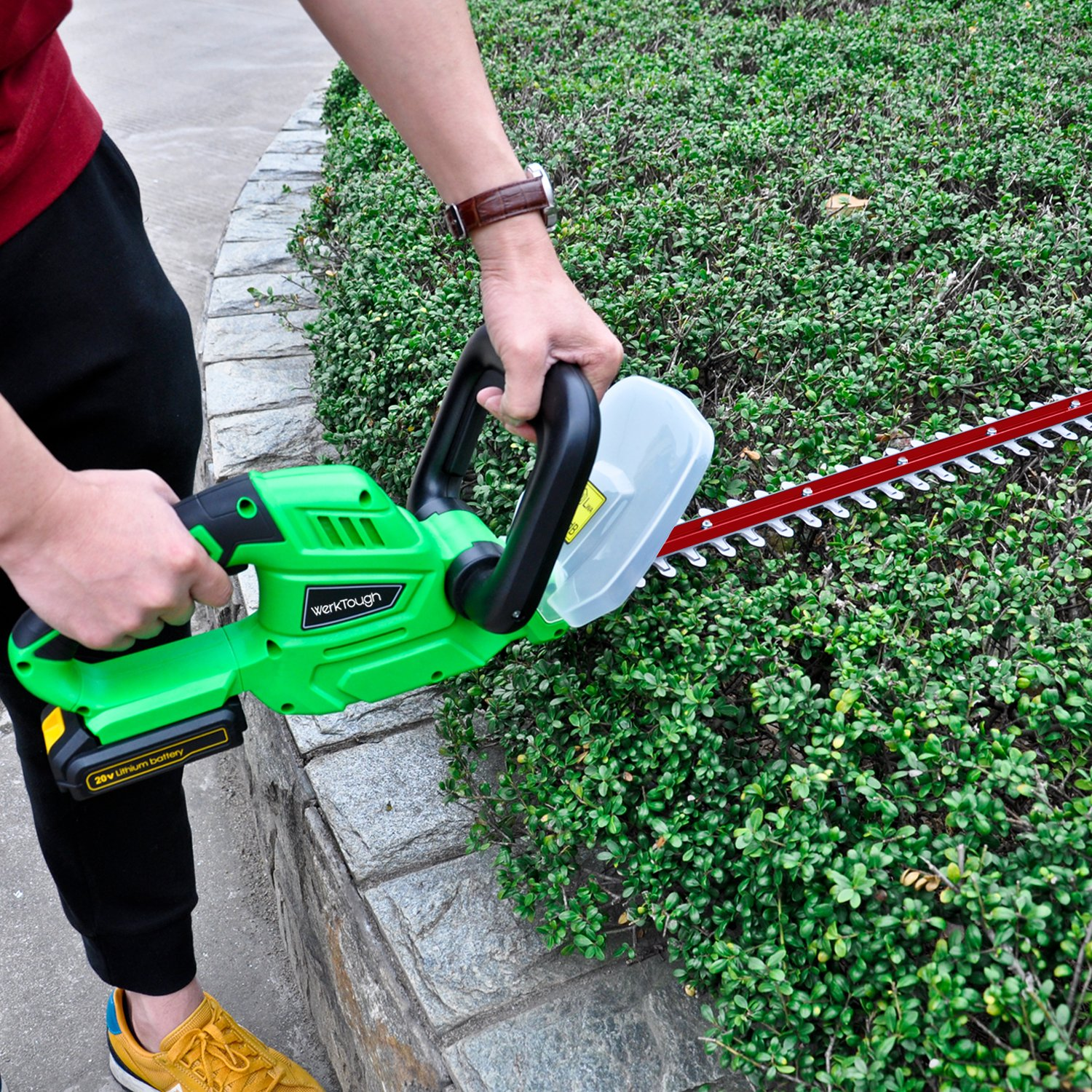 Werktough HT001 20V Lithium Ion Cordless Hedge Trimmer,2.0 AH Battery Included
