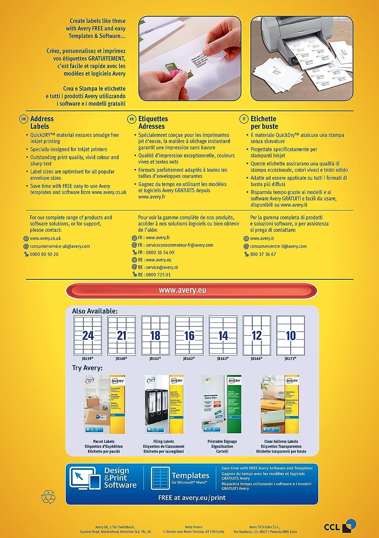 Avery J8160 100 Self Adhesive Addressmailing Labels 21 Labels Per