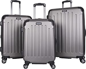 Kenneth Cole Reaction Renegade 3-Piece Lightweight Hardside Expandable 8-Wheel Spinner Travel Luggage Set, Silver, (20