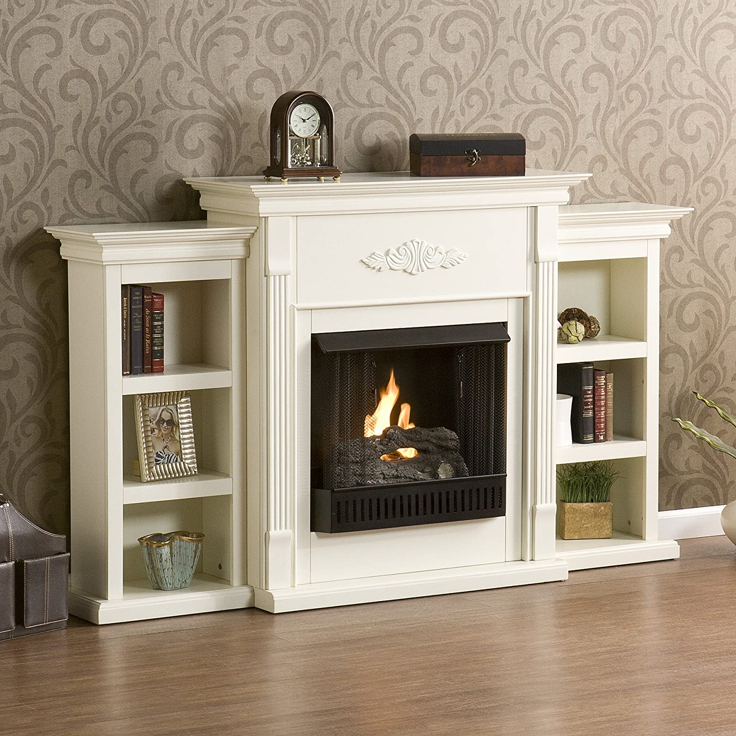 amazon com sei tennyson gel fuel fireplace with bookcases ivory