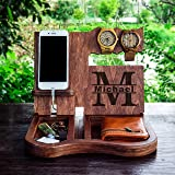 iphone dock,desk organizer,cell phone stand,Men's Valet,Wooden Docking Station,Wood, Cell Phone Dock,Charging Station,Persona