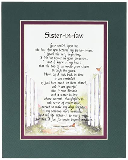 Amazon A Gift Present Poem For Sister In Law Birthday 91