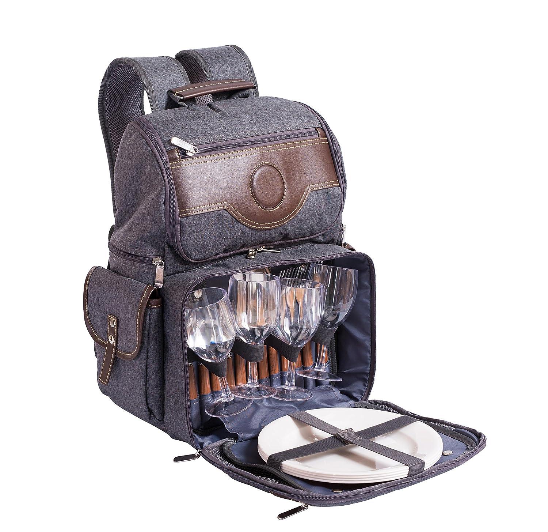 *BodenMax Picknickrucksack 4 Personen Geschirr Picknick Tasche Picknickset*