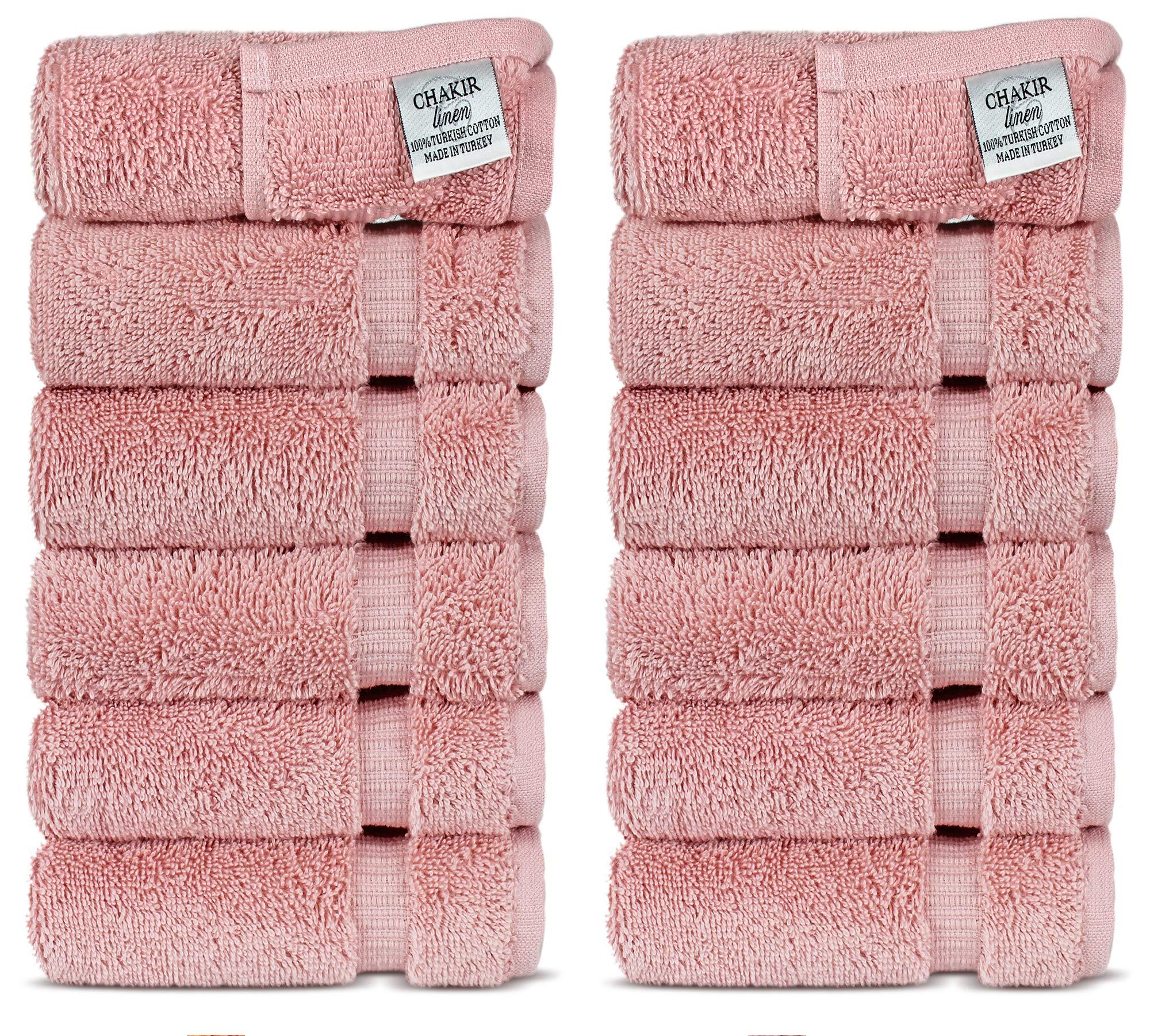Chakir Turkish Linens Luxury Hotel & Spa Washcloths Turkish Cotton, 13'' x 13'', Set of 12 (Pink)