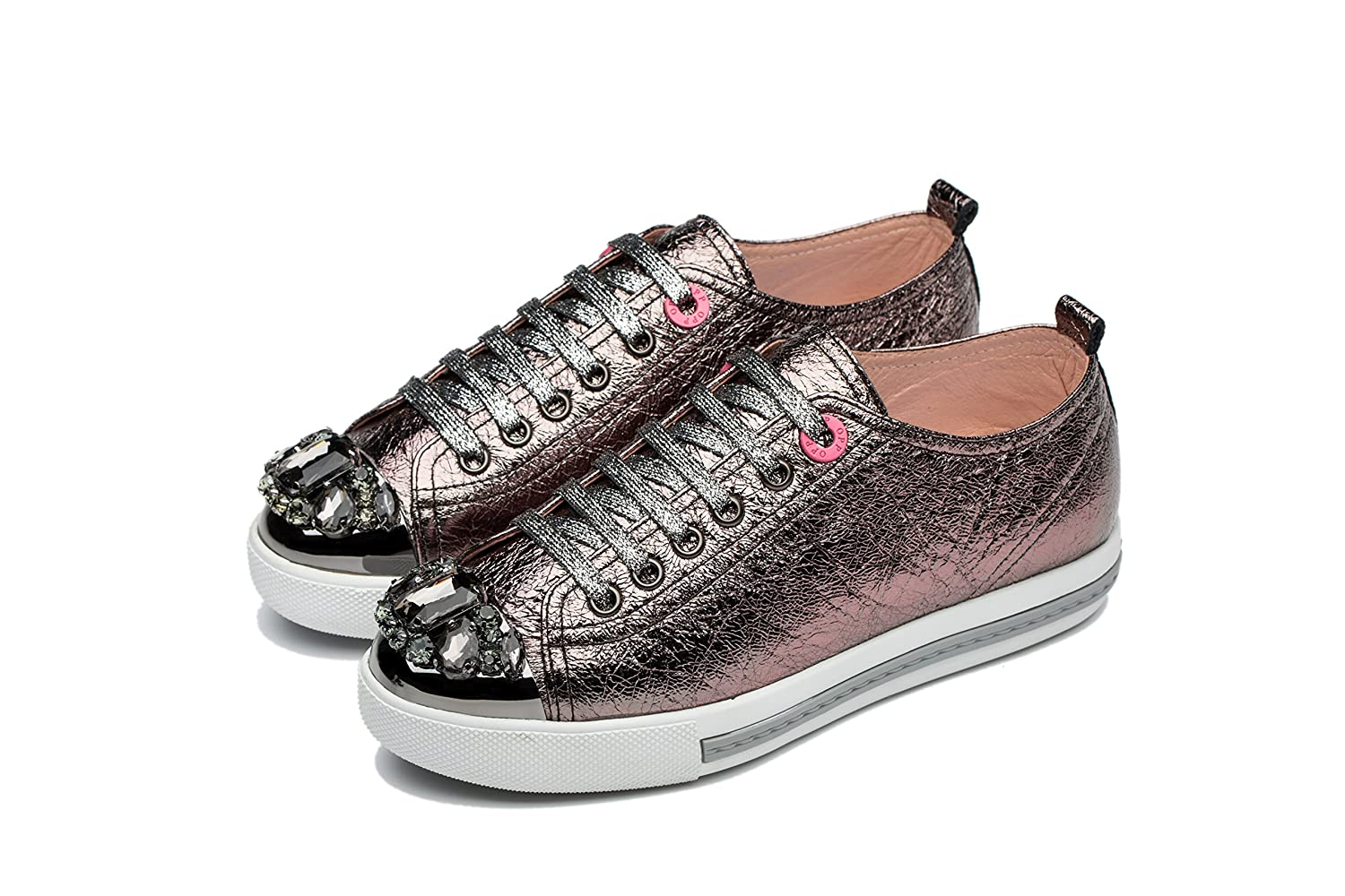 OPP Womens Metallic Leather Lace up Fashion Sneakers