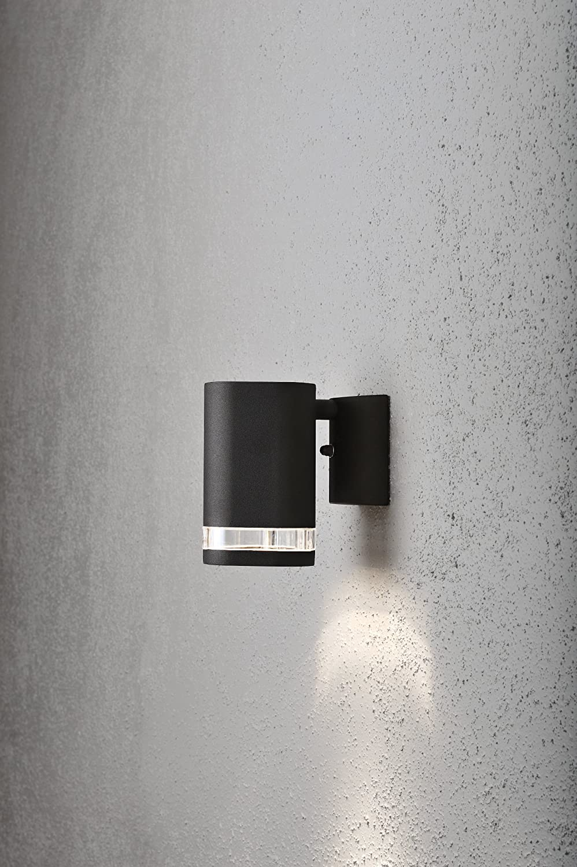 Aluminium Wandleuchte MODENA schwarz GU10 Höhe 13,5 cm IP44