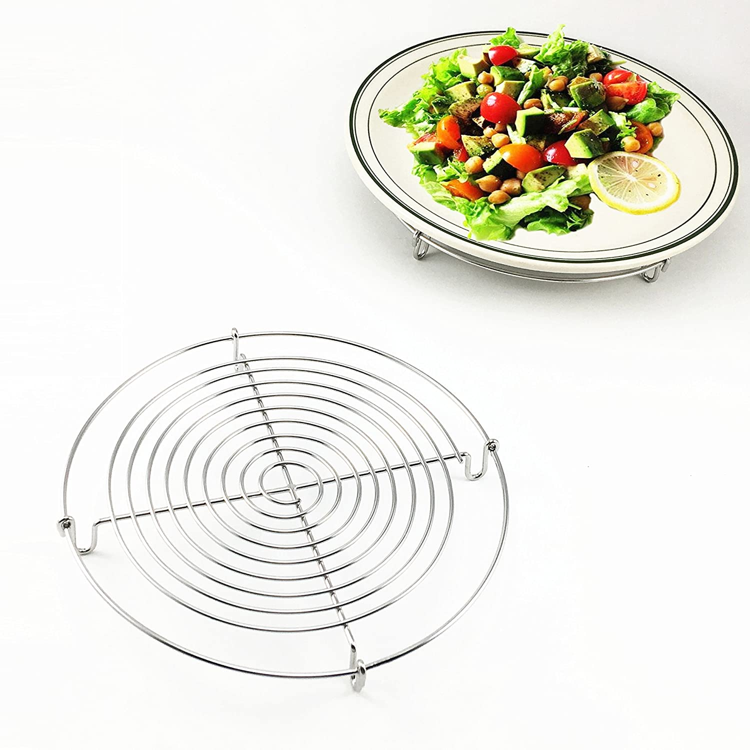 Stainless Steel Wire Cooling Rack Round Baking Tray For Cake Cookie Tarts Ovan Bread Pie Muffin Biscuits Cupcake,Kitchen Cooling Grid Holder Stand (Dia.12.6 Inch)