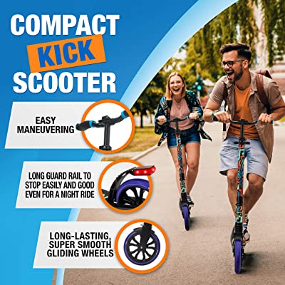 Anti-Slip Rubber Deck and LED Light Folding Grips Handlebar Adjusts to 3 Heights 1-Kick Open Mechanism Folding Kick Scooter for Adults and Kids Boys and Girls Freestyle Scooter with Big Wheels