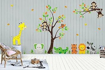 amazon com nursery wall decals baby room stickers jungle andnursery wall decals baby room stickers jungle and safari theme kids room decorations