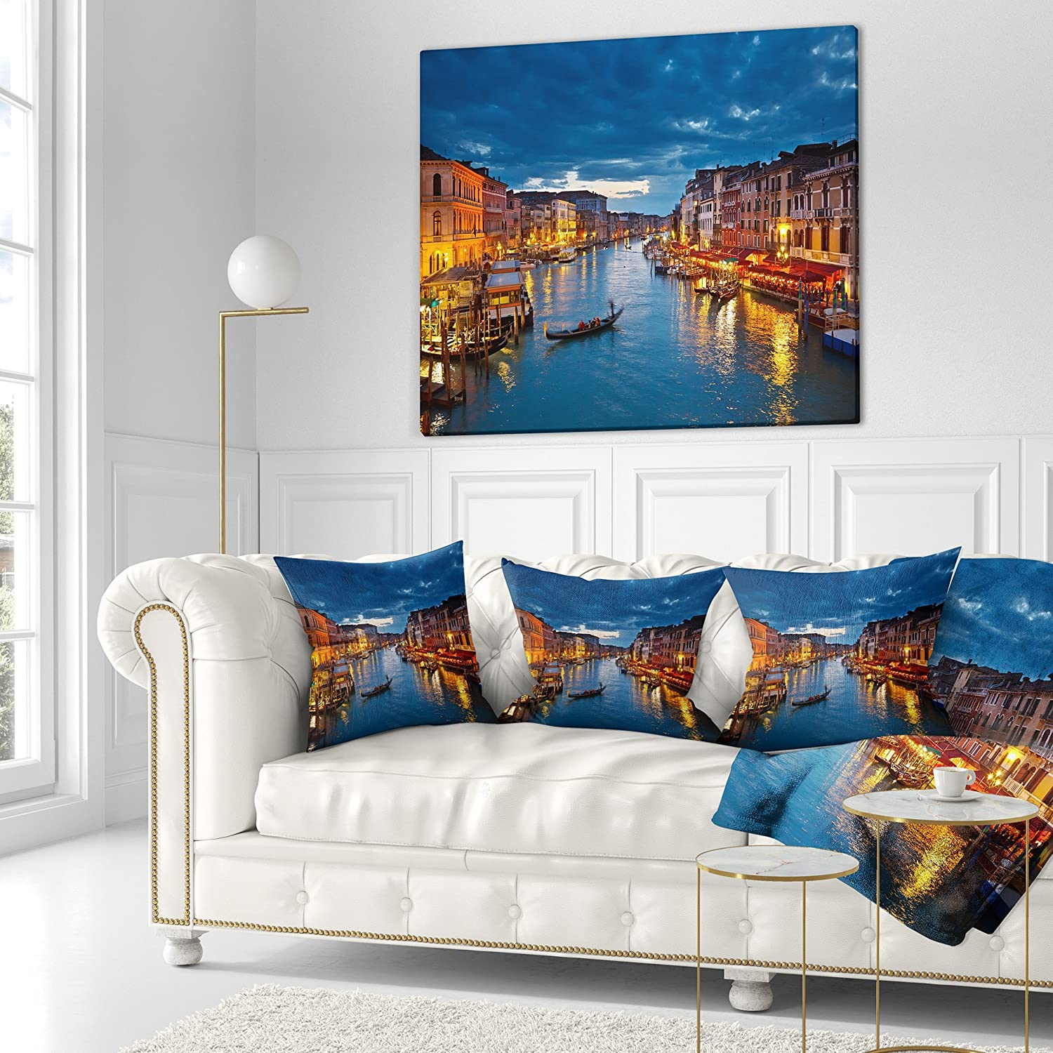 Designart CU7685-18-18 Grand Canal at Night Venice Cityscape Photo Cushion Cover for Living Room Sofa Throw Pillow 18 in in x 18 in Insert Printed On Both Side