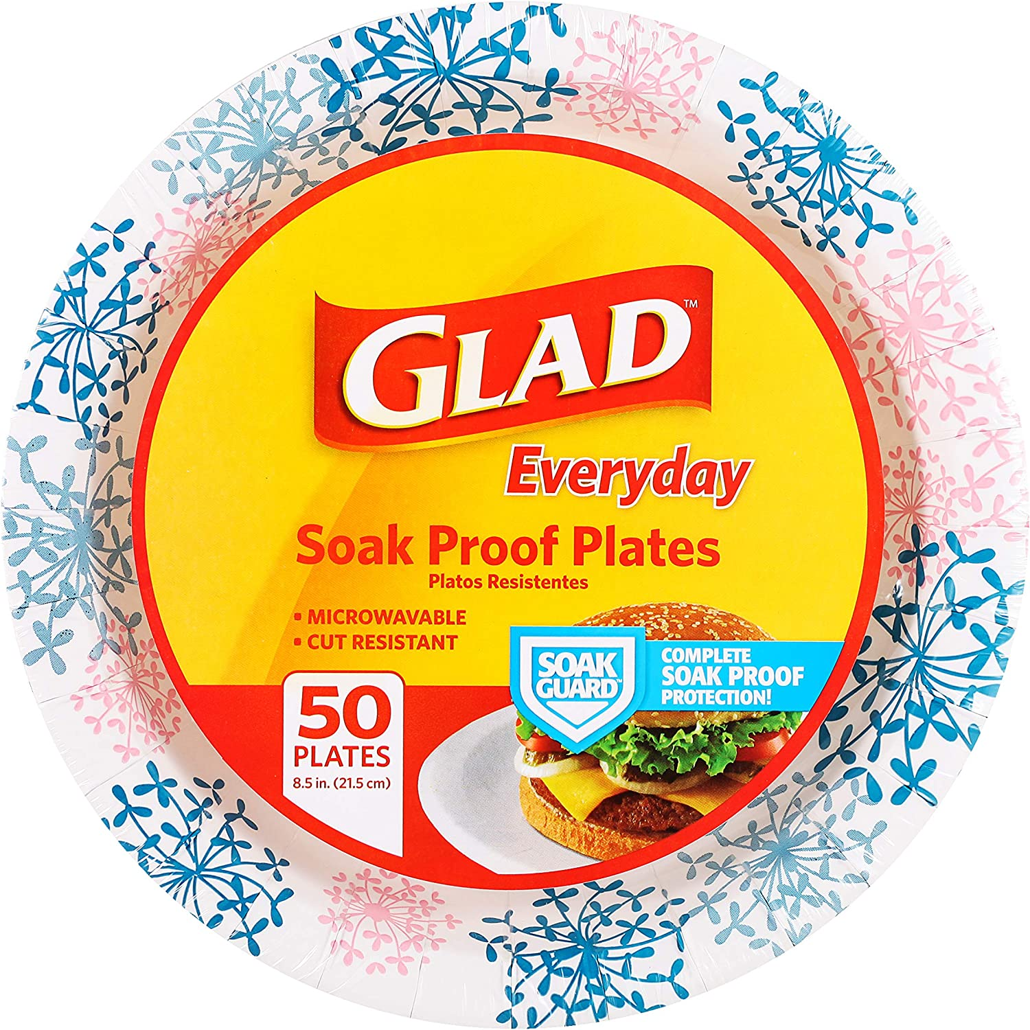 "Glad Round Disposable Paper Plates for All Occasions | New & Improved Quality | Soak Proof, Cut Proof, Microwaveable Heavy Duty Disposable Plates | 8.5"" Diameter, 50 Count Bulk Paper Plates"