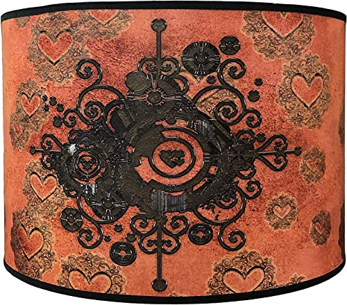 Royal Designs 14 Modern Trendy Decorative Handmade Steampunk Heart Design Hardback Lamp Shade 14 x 14 x 9 – HBC-8066-14