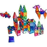 FunEdu Upgraded 100-piece Magnetic Tiles Building Blocks, Deluxe Super Strong Magnet toy set, Various Shapes, Wheel…