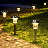 GIGALUMI 8 Pack Solar Pathway Lights, Solar Pathway Lights Outdoor Warm White, Waterproof Glass Stainless Steel…