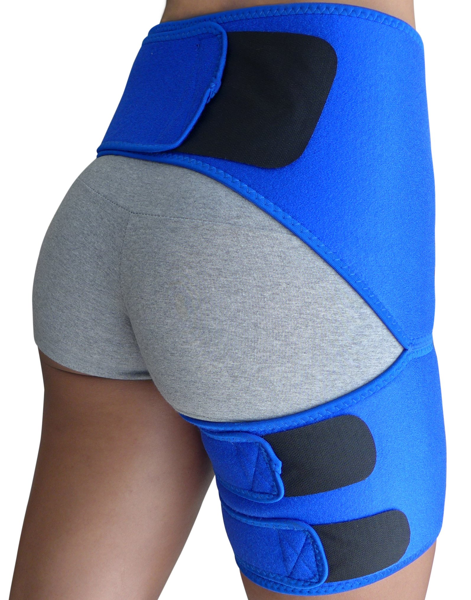 Hip Brace - Groin Support for Sciatica Pain Relief Thigh Hamstring Quadriceps Hip Arthritis SI Joint Injuries Hip Flexor Pulled Muscles - Compression Groin Wrap - Best Sciatic Brace Belt Men Women by Roxofit