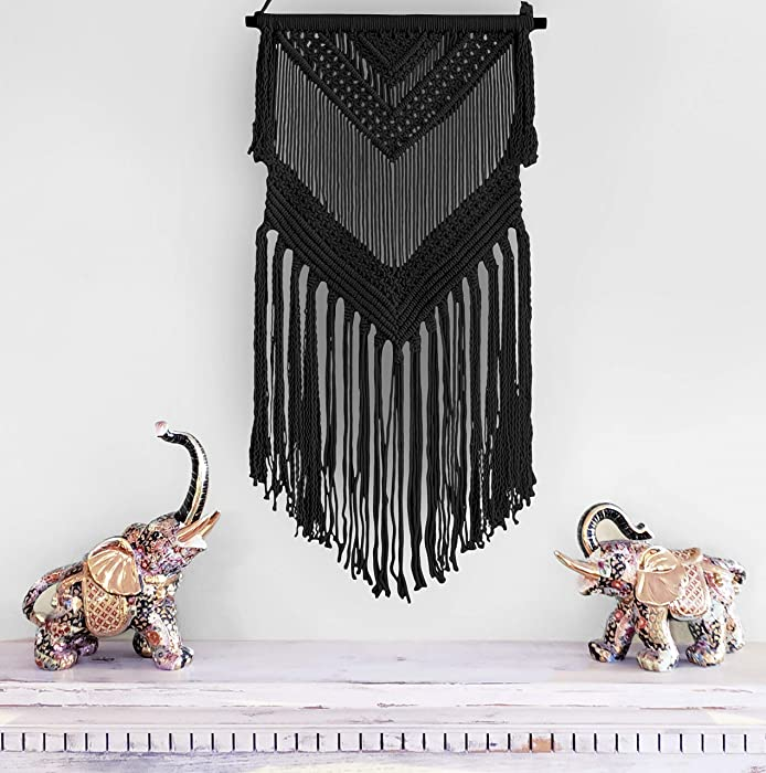 Aura Design's Boho Macrame Woven Wall Hanging Black 16 in x 36 in Modern Bohemian Tapestry Wall Art Decor for House, Apartment, Dorm, Bedroom, Nursery, Party Decorations, Wedding, Wall Ornament