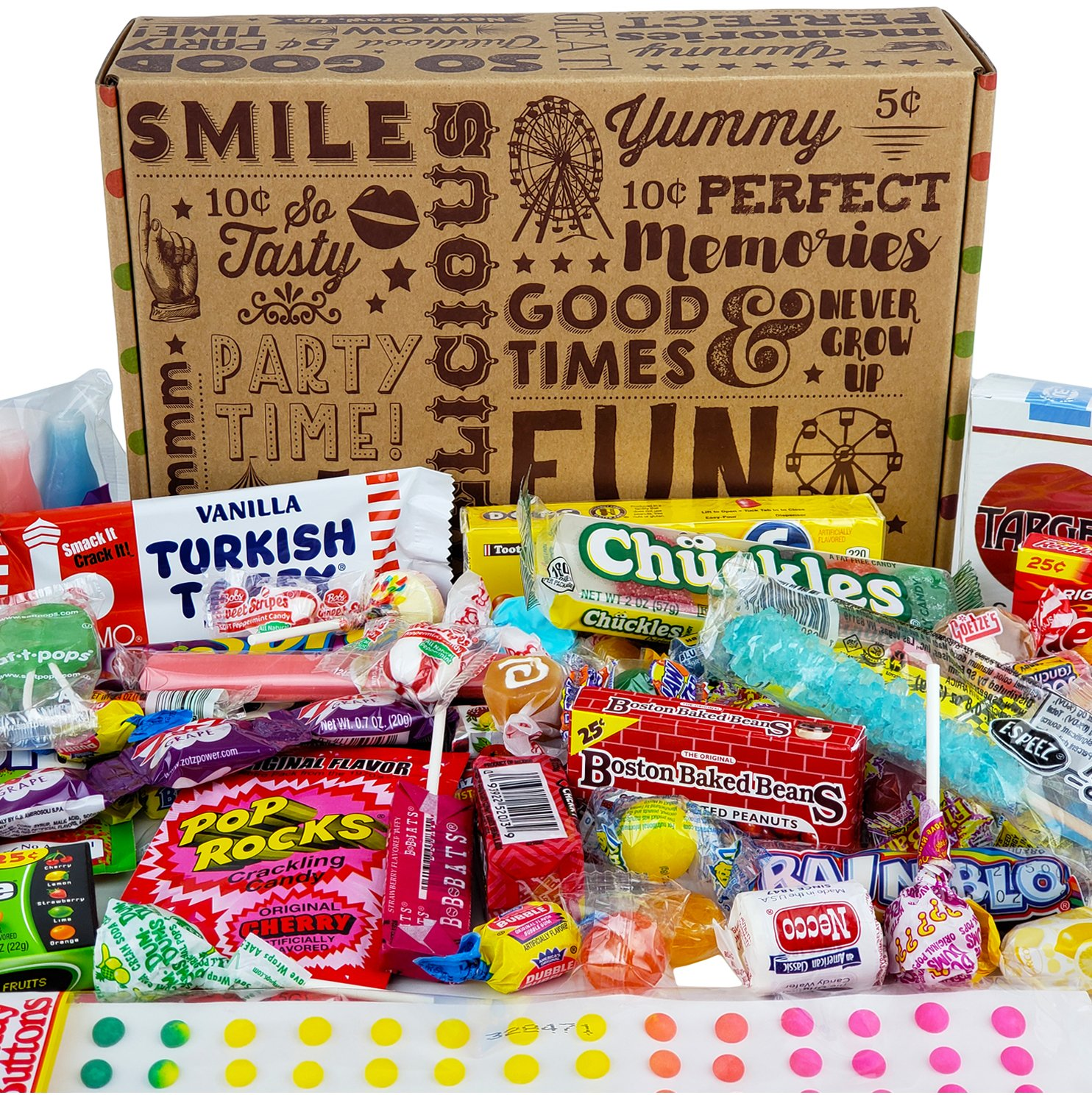 VINTAGE CANDY CO. HAPPY BIRTHDAY NOSTALGIA FUN CANDY CARE PACKAGE - Retro Candies Assortment Variety - GAG GIFT BASKET - PERFECT For Adults, College Students, Military, Teens, Man, Woman, Boy or Girl by Vintage Candy Co.