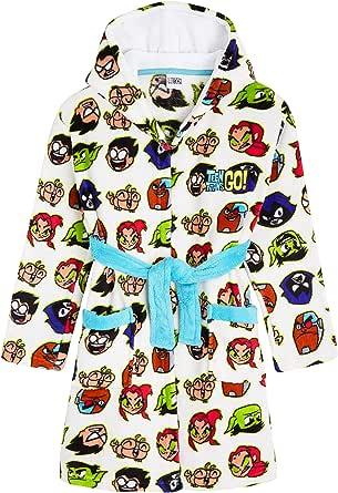 Teen Titans Go! Albornoz Niños, Bata para Casa de Forro Polar con Capucha, Albornoz Niño de Superheroes Jovenes Titanes, Regalos para Niños y Adolescentes