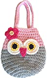 Happy Owl Mini Purse, Cute Pink & Grey First Handbag For Little Girls, 100% Handmade, Natural Soft Cotton, Highest Quality Crochet, Great 3, 4, 5 Year Old Girl Gifts, Perfect Birthday Present!