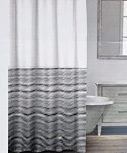Caro Fabric Shower Curtain Geometric Horizontal Lines in Shades of Light and Dark Blue on White - Sicily, Denim