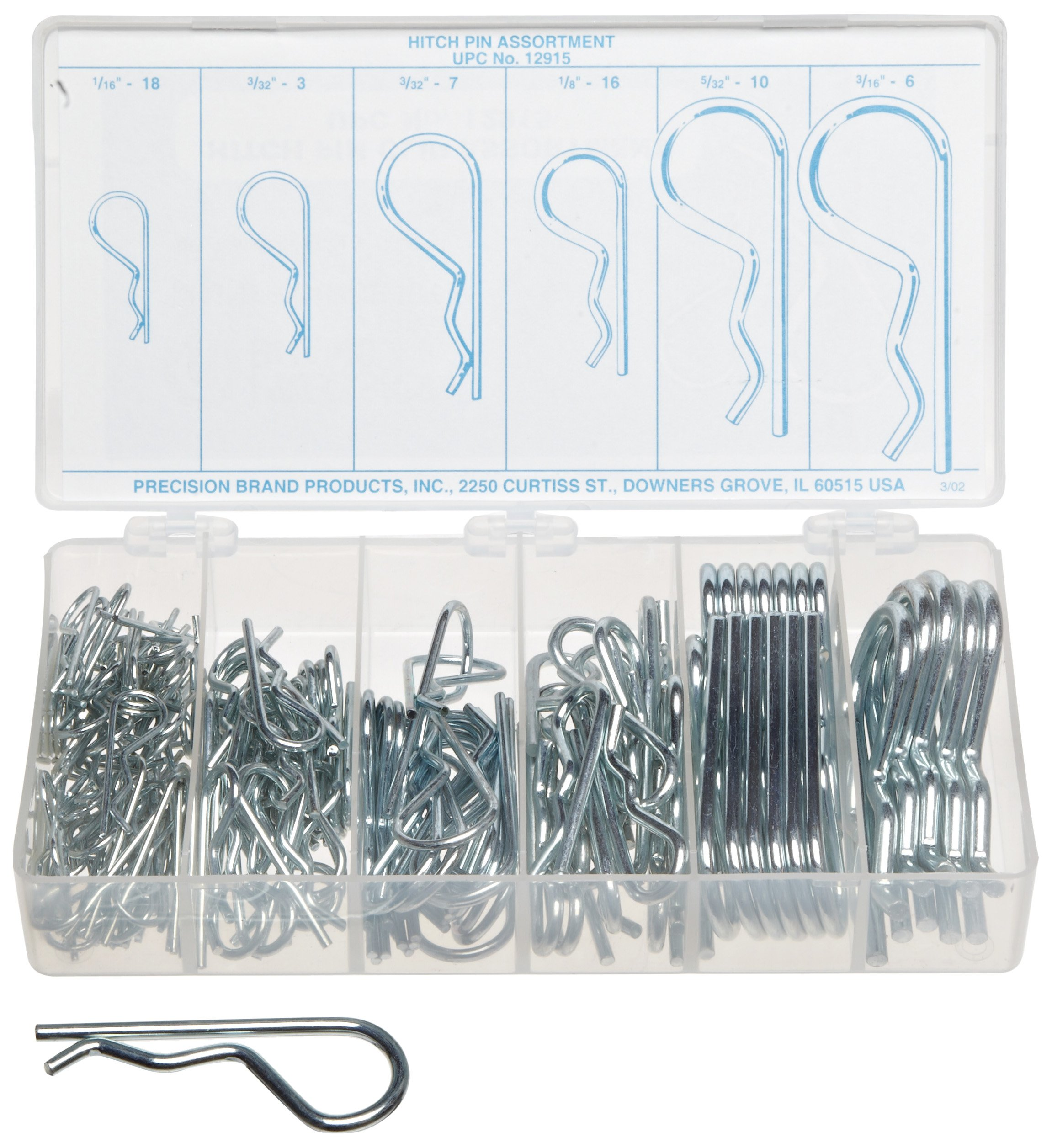 Carbon Steel Cotter Pin Assortment (150 pieces), Plain Finish, Inch, With Case