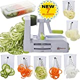 Brieftons 7-Blade Spiralizer: Strongest-and-Heaviest Duty Vegetable Spiral Slicer, Best Veggie Pasta Spaghetti Maker for Low Carb/Paleo/Gluten-Free, With Blade Caddy, Container, Lid & 3 Recipe Ebooks