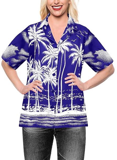 Blusas Camisa Hawaiana botón hacia Arriba Desgaste de la Playa Las Mujeres de Manga Corta Traje de baño Negro: Amazon.es: Ropa y accesorios