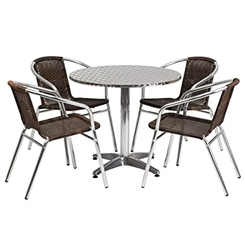 flash furniture round aluminum table set with 4 dark brown
